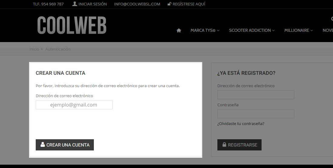 Cómo crear una cuenta en Coolwebsl.com